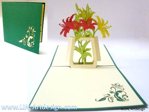 (LIN Pop Up 3D Greeting Card for an all Female Special Occasion, Lilies in Vase, (#42))