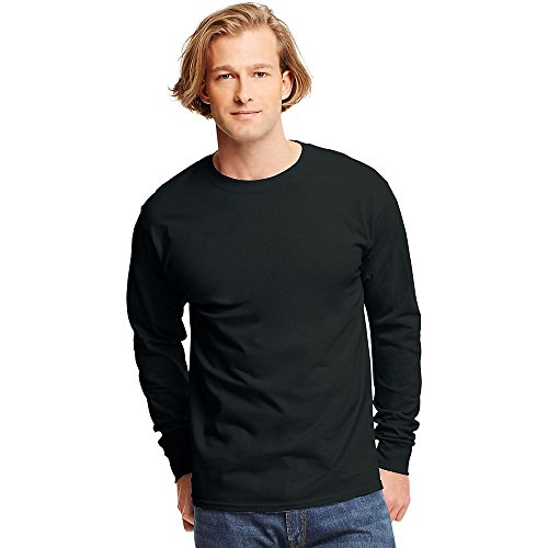 Shirt Mens Xl T-shirt (Hanes TAGLESS 6.1 Long Sleeve T-Shirt, XL-Black)