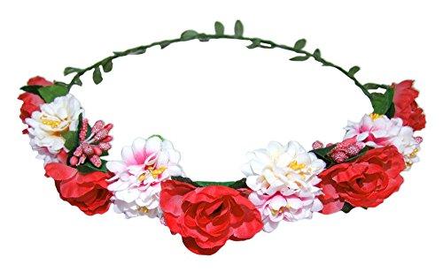 Blumenkranz - Haarschmuck mit Blüten Rot - Zauberhafter Haarkranz zu Dirndl und Trachten, für Hochzeiten und viele Anlässe