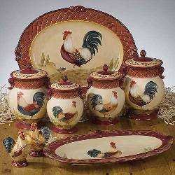 Amazon.com: Tuscan Rooster Canister Set: Kitchen Storage And Organization Product Sets: Kitchen