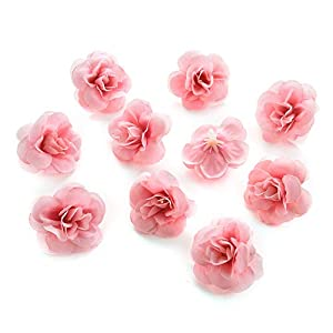 Fake flower heads in Bulk Wholesale for Crafts Silk Rose Artificial Flowers Heads Wedding Home Decoration DIY Party Birthday Home Decor Fake Flowers Decorative Supplies 80pcs/lot 4cm (Peach) 69