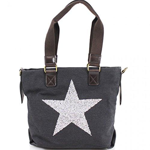 Women's 512 Canvas Shoulder Unisex Canvas Black Unisex Shoulder Star LeahWard Women's LeahWard Star Bag q77YwrI