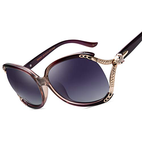 Clásico Sol de Mujer VEGOOS Grande UV400 de Estilo Gafas Polarizadas Morado Protección Marco de 6qq4TYw