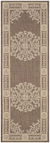 Safavieh Courtyard Collection CY2914-3409 Chocolate and Natural Indoor/ Outdoor Runner (2'3