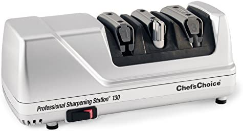 Chef sChoice 130 Professional Electric Knife Sharpening Station for Straight and Serrated Knives Diamond Abrasives and Precision Angle Guides Made in USA, 3-Stages, Platinum
