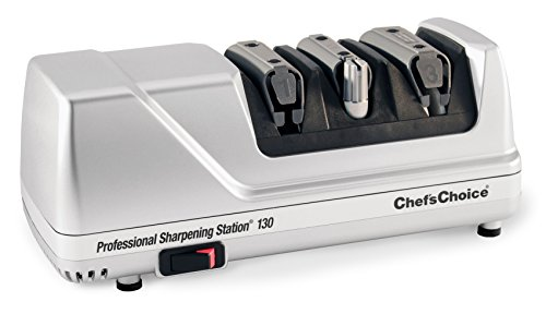 Chef'sChoice 130 Professional Electric Knife Sharpening Station for Straight and Serrated Knives Diamond Abrasives and Precision Angle Guides Made in USA, 3-Stages, Platinum (Angle Chefs Choice)