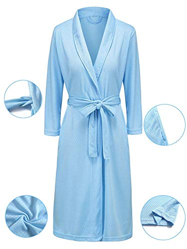 Vraquir Womens Waffle Bathrobe 3/4 Long Sleeves Kimono Lightweight Pajamas Loungewear Summer Hotel Spa Robe with Belt Sky-blue Large/X-Large (Jersey Kimono)