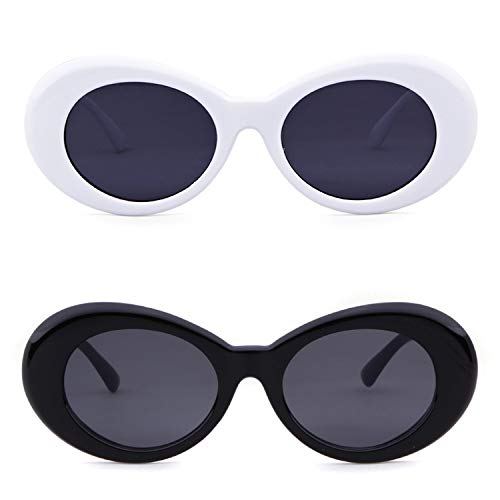 Bold Retro Oval Mod Thick Frame Sunglasses Clout Goggles with Round Lens (White&Black, ()