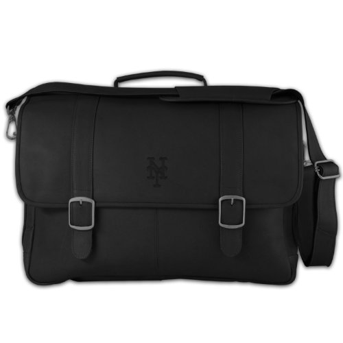Briefcase Leather Baseball (Pangea Brands MLB New York Mets Black Leather Porthole Laptop Briefcase)