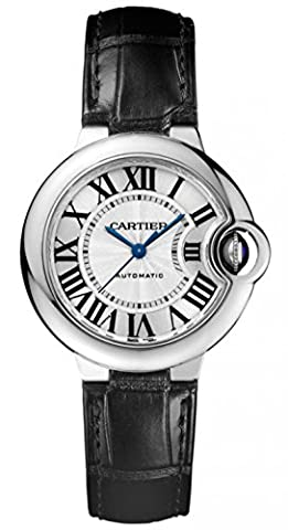 Cartier Ballon Bleu Automatic Silver Dial Stainless Steel Black Leather Ladies Watch W6920085 (Cartier Watch Women Black)