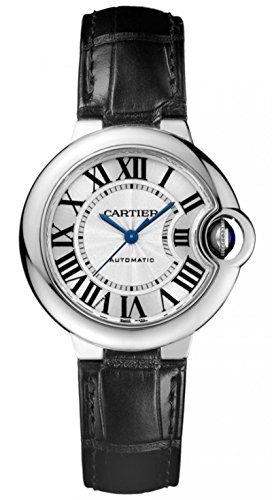 Cartier Ballon Bleu Automatic Silver Dial Stainless Steel Black Leather Ladies Watch W6920085