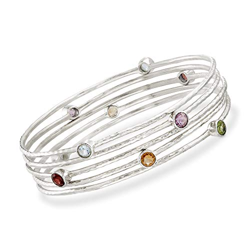 (Ross-Simons 2.30 ct. t.w. Multi-Stone Jewelry Set: Five Bangle Bracelets in Sterling Silver )