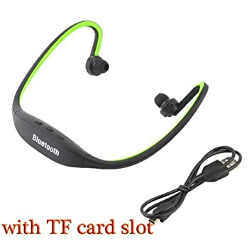 HHLUW Auriculares Inalámbricos Bluetooth Deporte Auricular Bluetooth Ranura para Tarjeta SD Bluetooth Auriculares Auriculares Micrófono,Verde: Amazon.es: ...