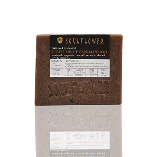 Soulflower Light Me Up Sandalwood Soap, 5.3 oz, 2 Bars, 100% Vegan, Handmade