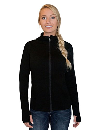 (Woolx Women's Zoey Full Zip Heavyweight Warmth Merino Wool Hoodie , Black, Medium)