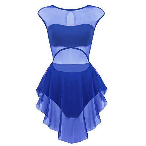 inhzoy Women's Sleeveless Asymmetrical Sheer Mesh Cutout Lyrical Dancewear Leotard Dress Blue Small