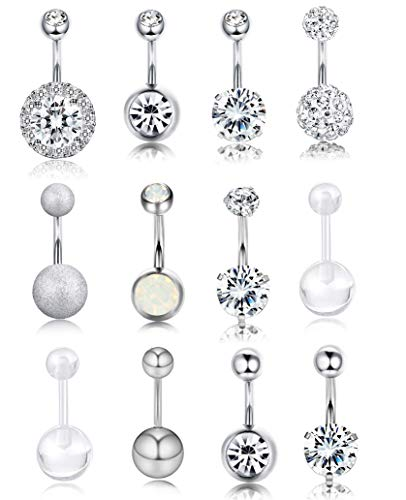 Besteel 10 Pcs 14G Stainless Steel Dangle Belly Button Rings for Women Girls Navel Rings CZ Body Piercing (I:12 PCS Sliver-Tone) -