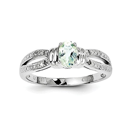 Sterling Silver Polished Rhodium-plated Green Amethyst Diamond Ring - Size 7 (Green Amethyst And Diamond Ring)