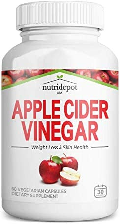 Apple Cider Vinegar Capsules with Vitamin C - 1000mg per Serving - Supports Healthy Weight, Keto, Digestion, Skin & Gut Health, Detox, Immune * - 60 Vegetarian Capsules 1