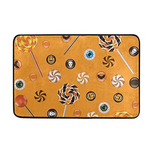 AUUOCC Doormat, Kitchen Bathroom Floor Carpet Mat, Doormat Halloween Lolly Lightweight Non Slip Door Mats Indoor Bathroom Kitchen Decor Rug Mat Welcome Doormat 15.7