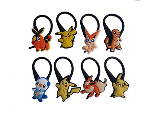 AVIRGO 8 pcs Black Soft Clothes And Bags Decoration Zipper Pull Keyring Carabiner Set # 117 - (Serena And Nate Costume)