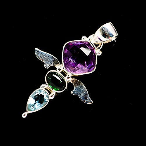 Ana Silver Co Faceted Amethyst, Green Tourmaline, Blue Topaz Pendant 1 1/2