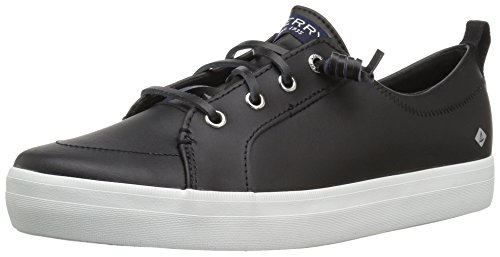 Sperry Girls' Crest Vibe Sneaker, Black Leather, 6 Medium US Big (Black Kid Leather Footwear)