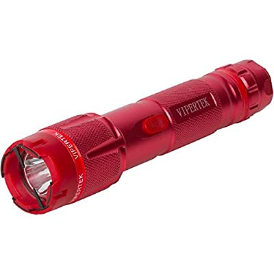 VIPERTEK VTS-T03 - Aluminum Series 999,000,000 Heavy Duty Stun Gun - Rechargeable with LED Tactical Flashlight, Red by VIPERTEK