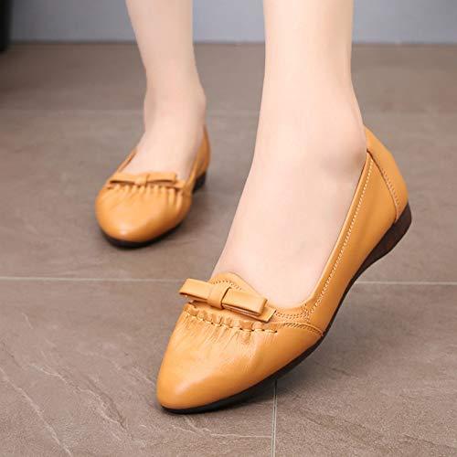 nbsp; Casual de Maternidad Comodidad de Solos FLYRCX Transpirable Cuero de Zapatos Zapatos nbsp; Zapatos Planos talón Deslizamiento Boca de Suave Fondo bajo D de nbsp;bajo TFqaxavC