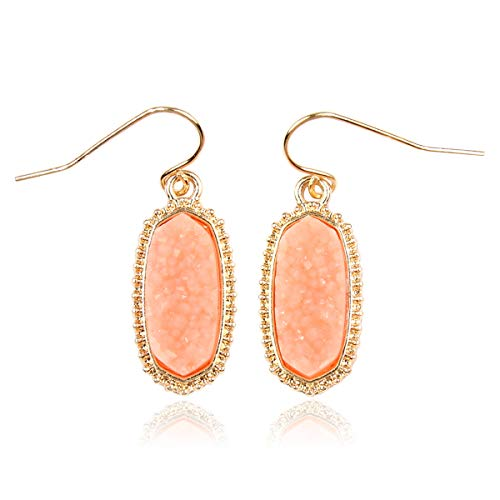 - RIAH FASHION Lightweight Acrylic Stone Druzy Crystal Oval Drop Earrings - Sparkly Geometric Polygon Hook Dangles Hexagon, Decagon (Oval Hexagon Mini - Peach)