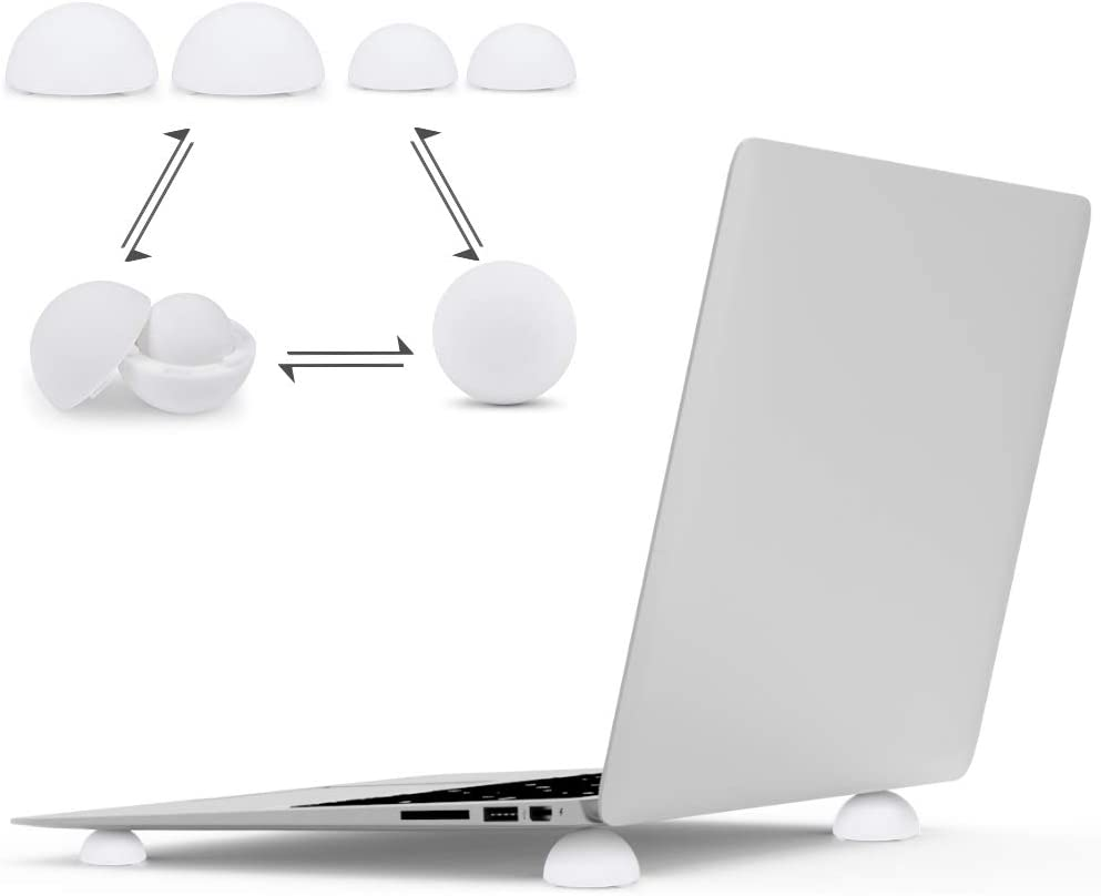 Laptop/Notebook/Keyboard Stand Cooling Ball Riser 4-in-1,Laptop Stand for Bed,Desk,Lap,Portable Elastic Anti-Slip Silicone Mini Cooler Pad Stand for All MacBook Pro Computer,(White)