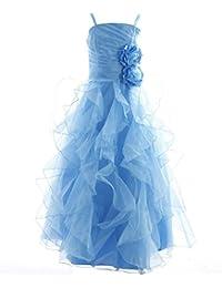 Fashion Plaza Girl's Organza Long Ruffle Flower Girl Wedding Pageant Dress K0135