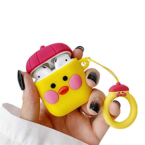 ICI-Rencontrer Super Cute 3D Hat Little Yellow Chicken Airpods Case Kids Girls Women Funny Cartoon Animals AirPods Accessories Wireless Charging Headset Soft Silicone Protector Decoration Red Hat