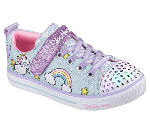 (Skechers Kids Girls' Sparkle LITE-Unicorn Craze Sneaker, Light Blue/Multi, 10.5 Medium US Little Kid)