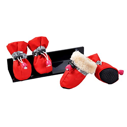 Xuou Ynport 4pcs Faux Fur Lined Winter Warm Pet Thick Dog Shoes Boots from Xuou