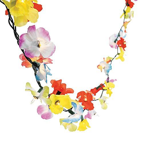 Fun Express - LighT-Up Flower Lei Garland for Summer - Party Decor - Hanging Decor - Garland - Summer - 1 Piece (Decorating Outdoor Ideas Cabana)