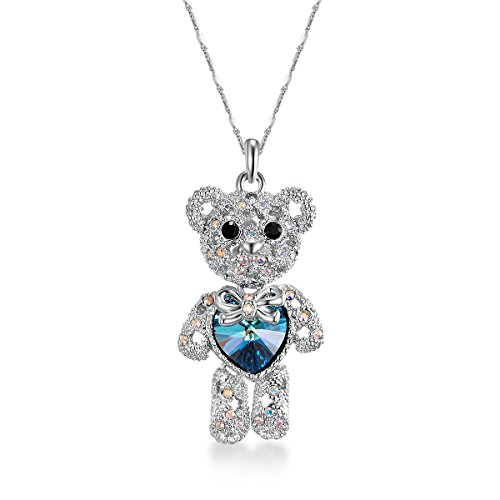 ZIOZIA Teddy Bear Pendant Necklaces for Girls Made with Blue Swarovski Crystal Kids Jewelry Birthday Gifts for Women -