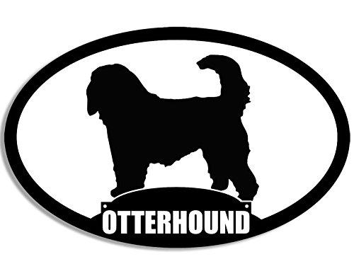 American Vinyl Oval Otterhound Silhouette Sticker (Dog Breed)