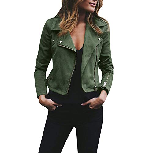 Rambling Womens Trendy Short Moto Biker Faux Suede Jackets Classic Side Zipper Coats Outwear Green