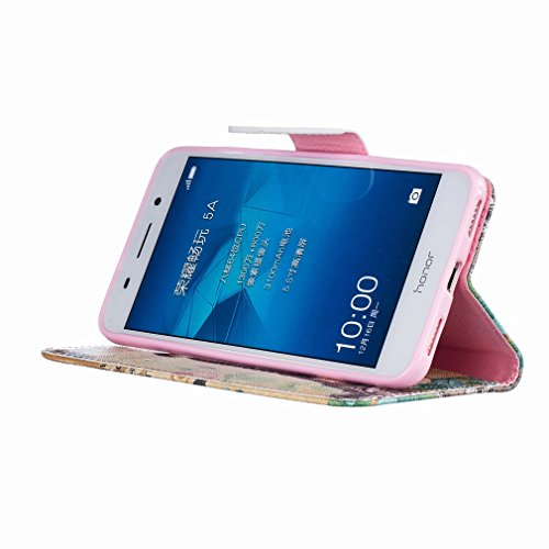 Yiizy Huawei Honor 5A Huawei Y6 II Custodia Cover, Torretta Della Trasmissione Design Sottile Flip Portafoglio PU Pelle Cuoio Copertura Shell Case Slot Schede Cavalletto Stile Libro Bumper Protettivo