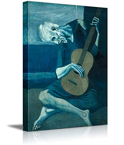 Canvas Prints Wall Art - The Old Guitarist by Pablo Picasso - Canvas Wall Art Famous Fine Art Reproduction| Modern Home Decor Wood Framed & Ready to Hang - 24