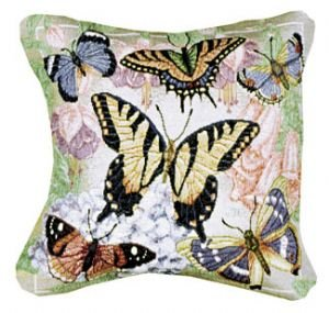 Butterfly Garden Decorative Pillow - Butterflies are Free Decorative Tapestry Toss Pillow USA Made
