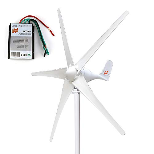 (Marsrock 400W Horizontal Wind Turbine Generator Economy Windmill Turbine Generator for Wind Solar Hybrid System 2m/s Low Star-up Wind Speed AC 12Volt or 24Vollt 5 Blades (400Watt 24Volt))
