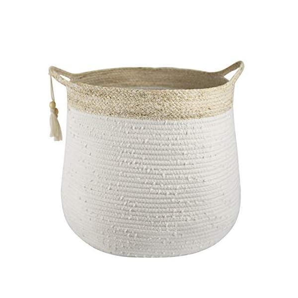 LA JOLIE MUSE Large Woven Rope Storage Baskets – White Cotton Rope Laundry Basket, Large Decorative Blanket Basket, 18.2″ x 15.7″ x 15″Kids Toys Basket Organizer, Baby Nursery Hamper Storage Bin