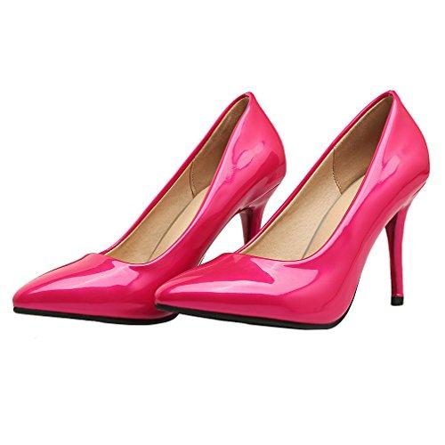 YE Damen Spitz Zehen Lackleder Stiletto High Heel Pumps Elegant Schuhe Rose