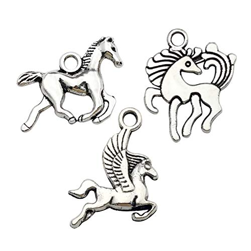 Horse Charm Jewelry - iloveDIYbeads 100g (About 90pcs) Craft Supplies Antique Silver Animals Horse Charms for Jewelry Making Crafting Findings Accessory for DIY Equestrian Necklace Earrings Bracelet M276