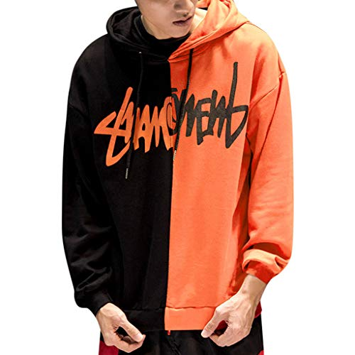 Funnygals - Men's Women Streetwear Casual Loose Clothes Fashion Print Hoodie Sweatshirt Tops Pullovers Plus Size S-5XL Orange ()