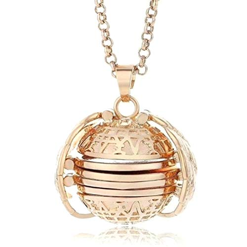 YESMAEA Expanding Photo Locket Necklace Angel Wing Pendant Memorial Gifts Fashion Accessory for Father's Day Gift,Gold ()