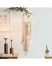 LOMOHOO Macrame Wall Hanging Dream Catcher Woven Moon and Owl Half Circle Moon Design Dream Catcher Boho Chic Bohemian Home Decoration Ornament Craft (Moon-Light)