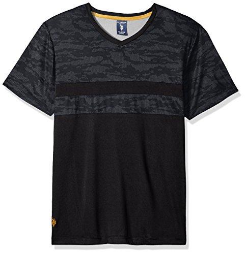 (U.S. Polo Assn. Men's Short Sleeve V-Neck Striped T-Shirt, Black Ffdd, M)